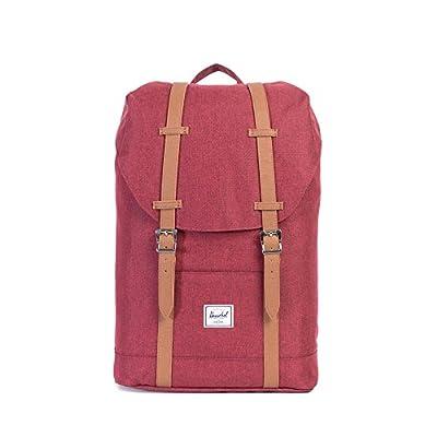 Herschel Retreat Mid-Volume Backpack - Winetasting Crosshatch/Tan Synthetic Leather