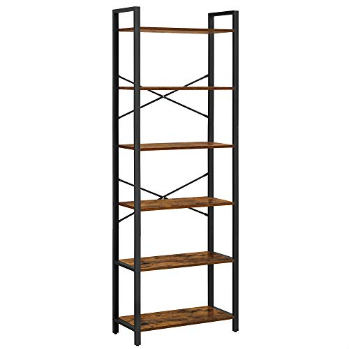 VASAGLE Bücherregal mit 6 Ebenen, Aufbewahrungsregal, Stahlgestell, für Wohnzimmer, Arbeitszimmer, Büro und Flur, Höhe 186 cm, Industrie-Design, vintagebraun-schwarz LLS062B01
