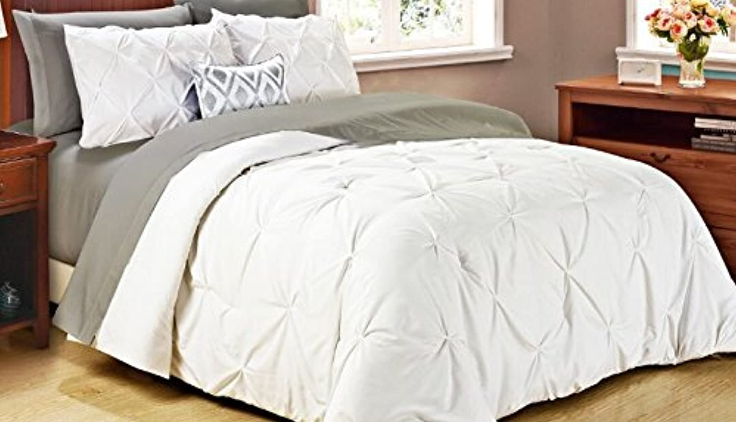 Cathay Home Oasis Pintuck Comforter Set, Twin, White