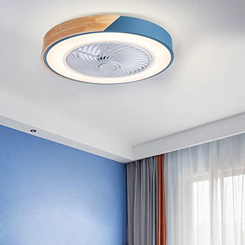 YGTMV Moderna 36W LED Ventilador De Techo con Lámpara,con Mando A Distancia Regulable Luz Ventilador Invisible, Velocidad del Viento Ajustable,Decoración De Interiores Plafón Iluminación, Ø51cm,Azul