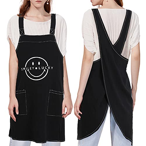 Black Apron for Men,Women, Garden Apron for Men with pockets, Cotton Linen X Cross Back Aprons, Men Apron for Painting Cleaning Cooking and Gardening,Black-S