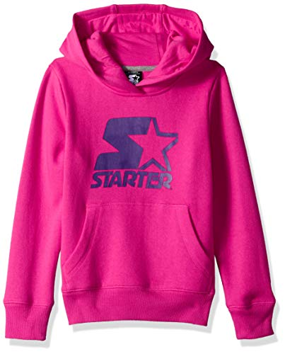 Starter Girls' Pullover Logo Hoodie, Amazon Exclusive, Power Pink with Team Purple Logo, XL (14/16)