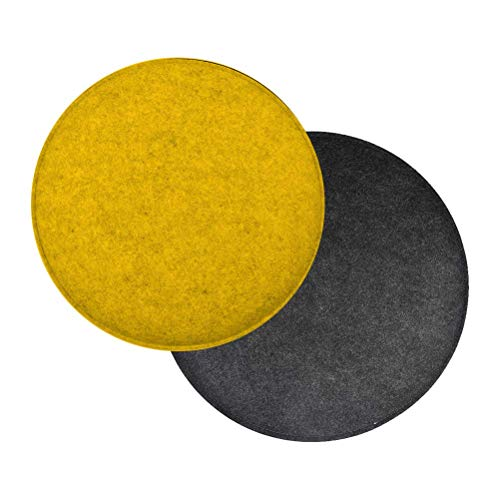 OFNMY 6 Packs Chair Cushion Round Seat Cushion Felt Chair Cushion Seat Pad | Round Floor/Sofa Seat Cushion for Living Room,Window,Office and Home (Yellow + Dark Gray)