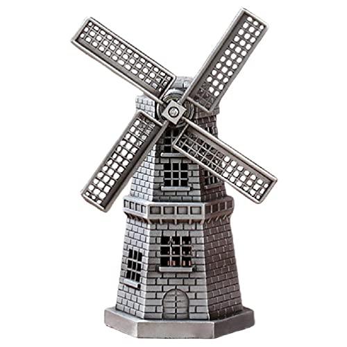 Vintage Bronce Antiguo Metal Holandés Holanda Molino de viento Modelo Estatuilla Estatua de edificio Muebles de escritorio Arte del hogar Decoración de mesa Adorno Regalos Arte del hogar Decoración