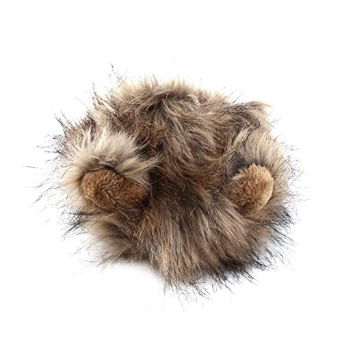 Timetided Lindo disfraz de mascota Cosplay Lion Mane peluca gorra sombrero para gato Halloween ropa de Navidad vestido elegante con orejas Otoo Invierno