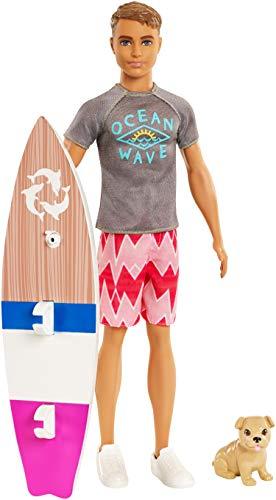 Barbie La Magie des Dauphins Ken poupée Surfeur, avec sa planche de surf et figurine de chien, jouet pour enfant, FBD71