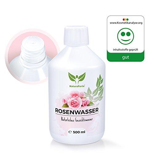 natural aforte Original Rose Agua 500ml, natural Maquillaje para pura, piel facial Agua para mujeres y hombres, 100% Natural y Vegan de rosas, hydrolat sin alcohol, abgefüllt en Alemania