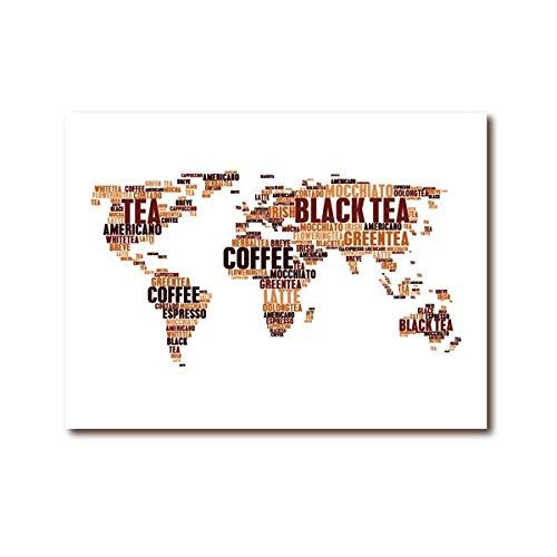 Kaffee Tee Heiße Getränke Wolke Tags Wörter Weltkarte Kunstdrucke Poster Coffee Shop Wand Bilder Bild Dekor Karte Poster Abstrakt Leinwand Gemälde 50 × 70cm Rahmenlos