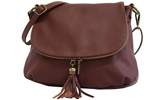 AmbraModa NL6X1 - Borsa a tracolla donna, borsa a spalla realizzata in pelle morbida sauvage (marrone)