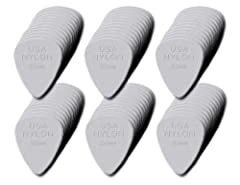 Gauges (MM): .38, .46, .60, .73, .88, 1.0MM High quality Nylon material Molded tactile gripping surface Thinner gauges perfect for strumming - thicker gauges for a more aggressive, heavy attack .38 White .46 Cream .60 Light Gray .88 Dark Gray .73 Gra...
