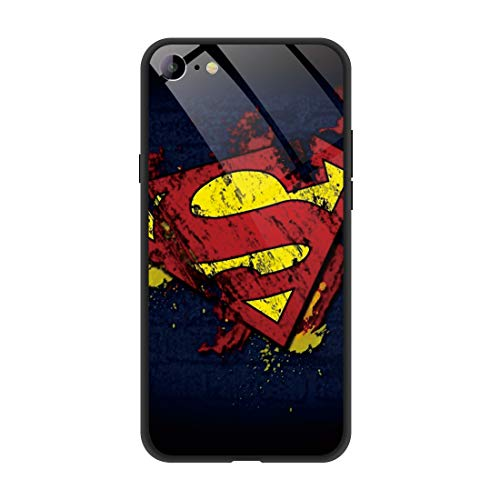 Phone Case Compatible with iPhone SE (2020) / iPhone 8/ iPhone 7, Comics Pattern Design Tempered Glass Back Shockproof Cover with Soft TPU Anti Scratch Bumper Case 4.7 inch (Superman-Logo)