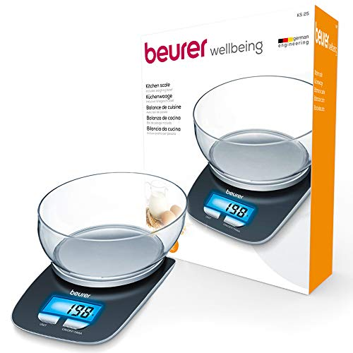 Beurer KS25 Digital Kitchen Scale | With 1.2l weighing bowl | Tare weighing function | Adjustable between kg, g, lb, oz | 3kg weight capacity