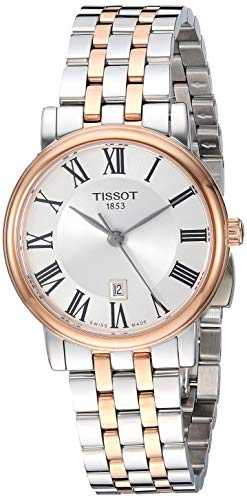 womens Carson Stainless Steel Dress Watch Grey|Rose Gold - Tissot T1222102203301