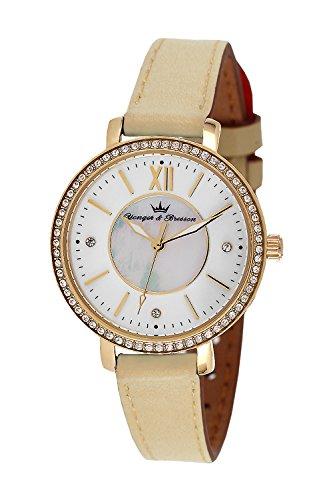 YONGER&BRESSON Damen Datum Norm Quarz Uhr mit Leder Armband DCP 049S/BE