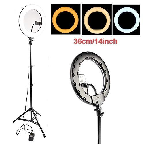 Anello di luce LED selfie Light Ring 14 '' 36 centimetri 3200-5600K variazione continua illuminazione regolabile USB Plug Con 160 centimetri treppiedi for il trucco Live Video Studio Treppie