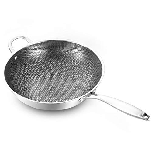 CGADX Edelstahl Wok Dicke Waben-handgefertigter Bratpfanne Nicht-Stick Nicht-rostendes Gas/Induktionskocher Pan Küche Kochgeschirr