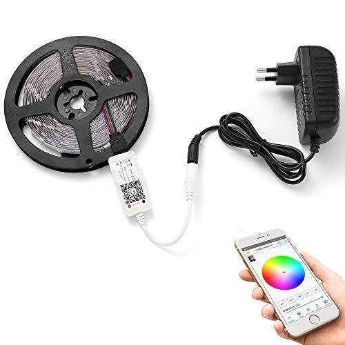 Striscia LED RGB Bluetooth Strisce 5M 150 LED con Smart APP Controlled, Luce Striscia LED 5050 Light Strip 12V 2A per la decorazione domestica