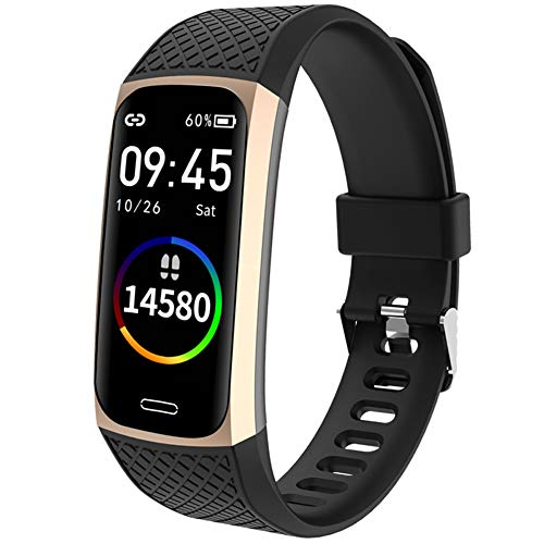 YANXS Smartwatch, Reloj Inteligente,Pulsera Actividad con Fitness Tracker,Cronómetro, Calorías, Podómetro, Pulsómetro, Monitor de Sueño, IP68 Impermeable, Reloj de Fitness para Mujer Hombre Niño,Oro
