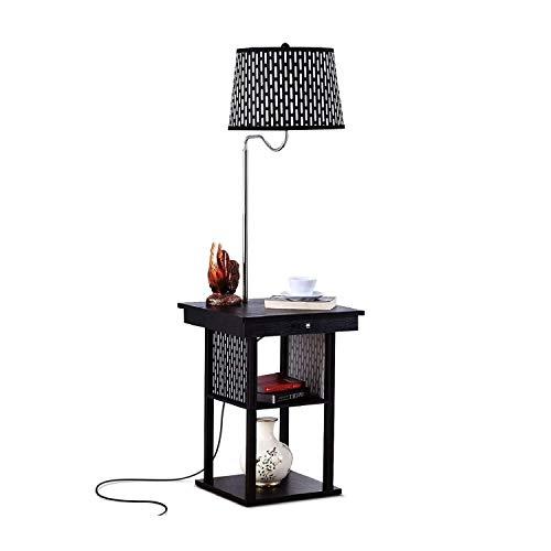 Floor Lamp Met USB opladen interface Living Room Study LED leeslamp Slaapkamer Nachtlampjes Coffee Table Verticale Storage Light DZE (Color : Black, Size : 35cm*35cm*147.2cm)