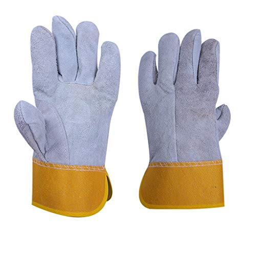 NYSCJJJ Arbeitssicherheit Schutzhandschuhe, Schweißen Rindsleder Handschuhe für Ofen/Grill/Kamin/Herd/Topflappen/BBQ (Size : 12 Pairs)