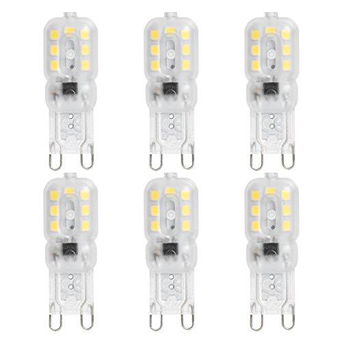 JUNSHI G9 Bombillas LED, 2.5 w a 20W, Blanco Frío 6500k, 230 lúmenes, ángulo de la viga 360 ° con la lente transparente, AC220-240V, No Dimmable, Paquete de 6