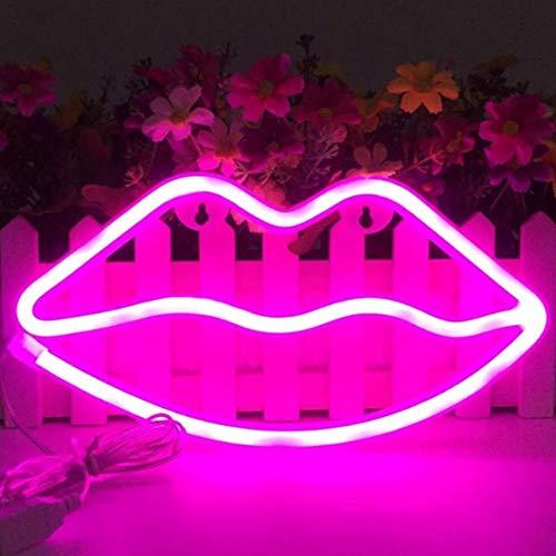 LED Lips en forma de letreros de neón Arte romántico Luces decorativas Decoración de la pared para Studio Party Habitación de los niños Sala de estar Fiesta de bodas Decoración de Navidad (Rosa)