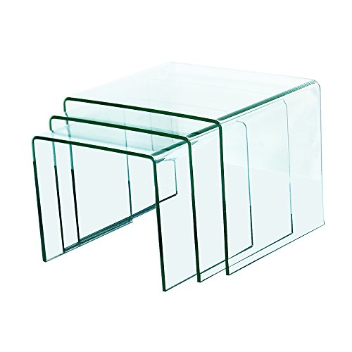 Fab Glass and Mirror Bent Glass Nest Tables, 3/8' Thick, Clear, 3 Piece
