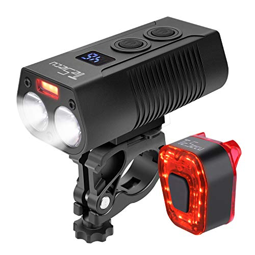 TESECU LED Bike Light USB Rear Bicycle Light Rechargeable Bike Tail Light and Front Light Set Bright Cycle Headlight with 5000mAh 1300 Lumen Fits All Mountain & Road Bike, Waterproof