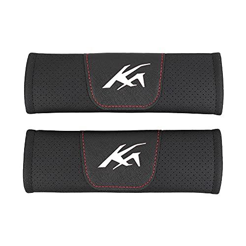 AKMEYI 2 Piezas Almohadillas para Cinturón de Seguridad de Cuero para Fo-Rd KA Ka, Cuero PU Transpirable Almohadillas Protectores de Coche Hombro, con Emblema