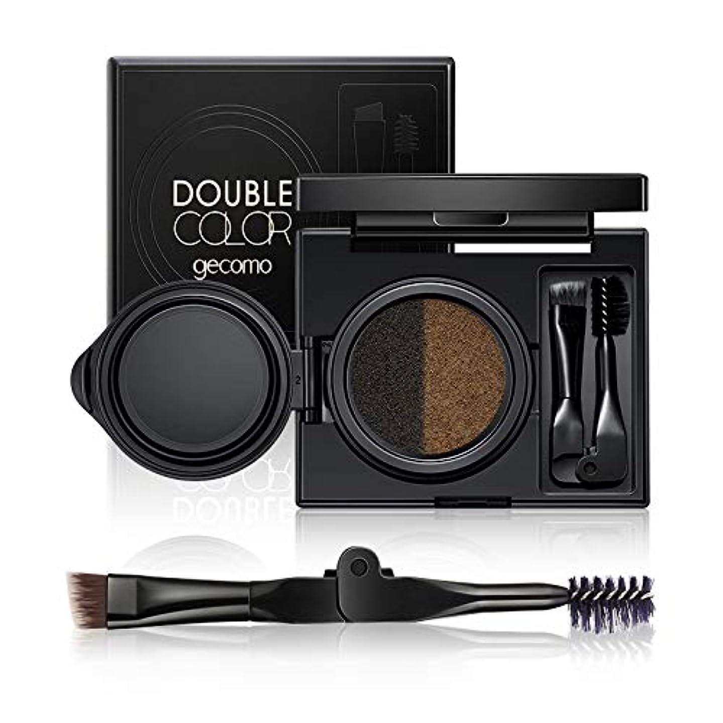 リッチゲージ魅惑的な美容アクセサリー GECOMOダブルカラーエアクッションアイブロウメイクアップ色素パレット、アイブロウブラシ付き 写真美容アクセサリー (色 : Grey)