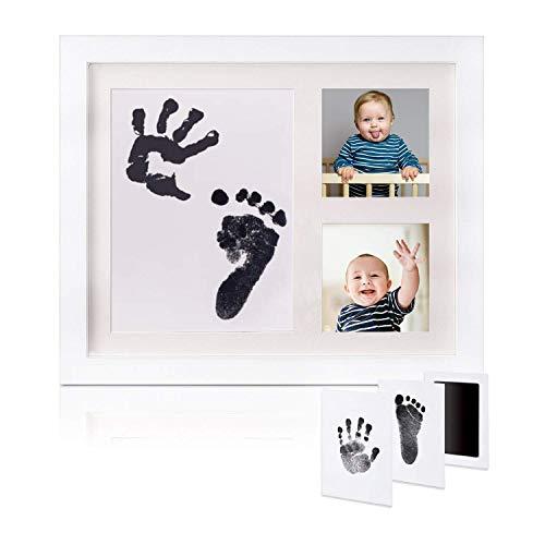 GSSUCCESS Set de Marco de Fotos y Huellas de Bebé en Tinta,Recuerdo memorable,No tóxico,Ideal regalos para bebes,Marco de madera y cristal acrílico,Ideal decoración o regalo de baby shower