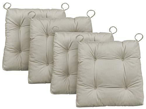 Traumnacht Stuhlkissen Premium 4er Set, mit einem Baumwollbezug, 38 x 40 x 7 cm, beige