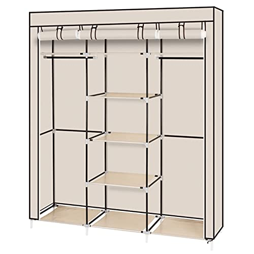 RAMPS Armario no tejido con 5 capas y 9 compartimentos para una fácil instalación en el dormitorio, 150 x 45 x 175 color beige
