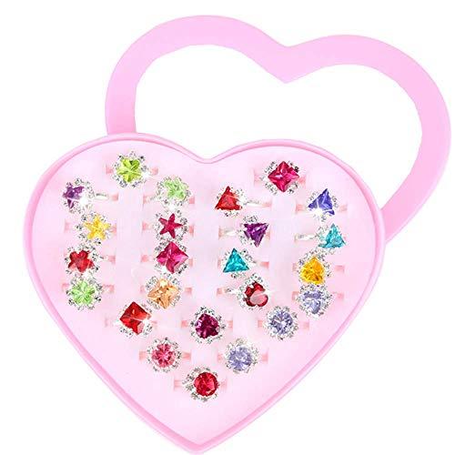 Kinderringe Mädchen, 24 Stück Mitgebsel Kindergeburtstag Mädchen Einschließlich Herzförmiger Vitrine Verstellbarer Glänzender Schmuck Mädchen