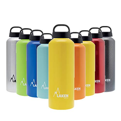 Laken Classic Botella de Agua Cantimplora de Aluminio con Tapón de Rosca y Boca Ancha, 0,6L Amarillo