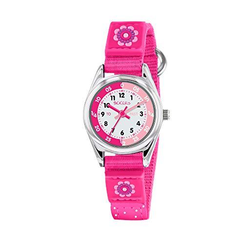 Tikkers Mädchen Quarz-Uhr mit weißem Zifferblatt Analog-Anzeige und Dark Pink Stoff und Leinwand Strap tk0119
