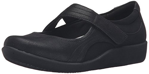 CLARKS Women's Sillian Bella Mary Jane Flat, Black Synthetic, 10 C/D US