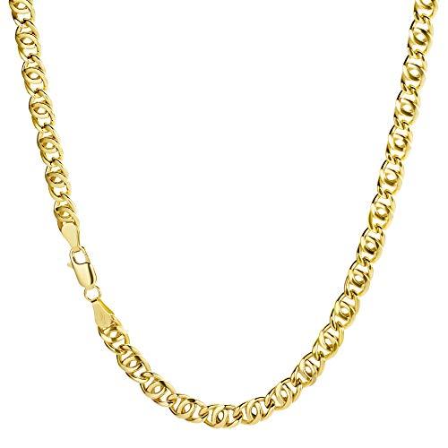 Catena a maglia barbazzale in oro giallo 750, 18 carati, larghezza 5 mm, lunghezza a scelta e Oro giallo, colore: oro giallo, cod. 18PH-8-03