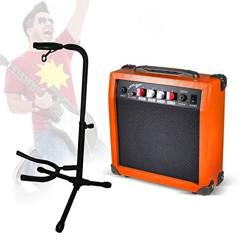 Set gitaar in gras – versterker oranje draagbaar + verstelbare standaard