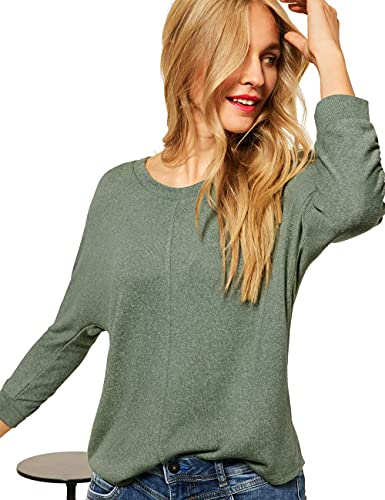 Street One Damen New Ellen T-Shirt, Frosty Green Melange, 42
