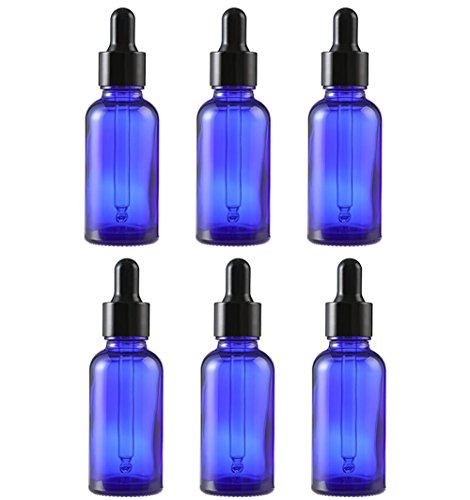 6PCS azul vidrio del aceite esencial Frascos botella frasco cuentagotas con tapa negra maquillaje frasco cosmético envase de contenedores para aromaterapia perfume (30ml/1oz)