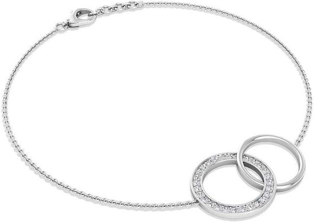 1/4 CT Diamond Ring Chain Bracelet, 14K Solid Gold