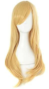 MapofBeauty 24 /60cm Girls Long Anime Side Bangs Great Wavy Curly Cosplay Party Wig  Orange Yellow