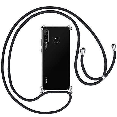 opamoo Funda con Cuerda para Huawei P30 Lite,Carcasa TPU Transparente Suave Huawei P30 Lite Silicona Casecon Correa Colgante Ajustabl Manos Libres Collar Correa de Cuello Funda para Huawei P30 Lite