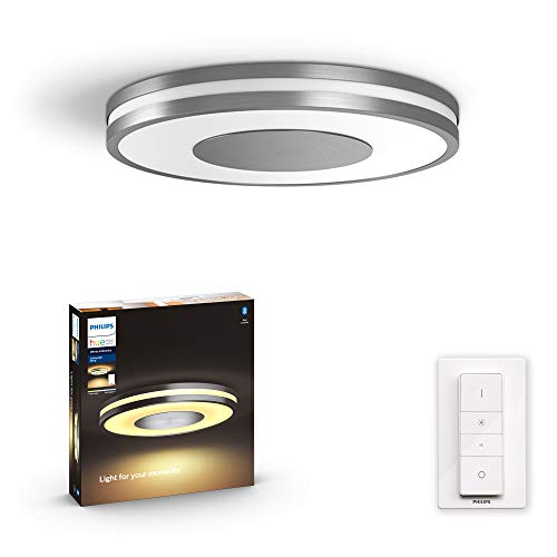 Philips Hue Being Plafón Inteligente LED aluminio con Bluetooth, Luz Blanca de Cálida a Fría, Compatible con Alexa y Google Home