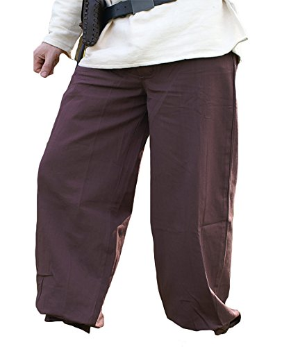 Battle Merchant Pantalón Medieval Pantalones con Cierre, marrón Oscuro de Algodón - Larp Edad Media Vikingo - XXXL