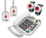 MAXCOM KX481SOS (G-TELWARE®) Haus-Notruf-Seniorentelefon mit Funk-SOS-Sender, schnurgeb&enes Festnetztelefon, 2Armband+2Umhängesender, Große Tasten, TAE Stecker, Hörgerätekompatibel…