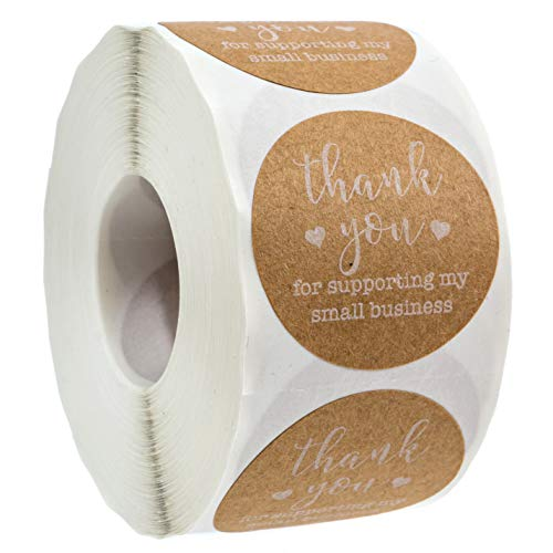 """1.5"""" Diameter. 500 labels per roll. Printed on actual kraft stock for a high-quality look and feel. Thank you for supporting my small business printed in eye catching white ink and two stylish fonts Great for businesses, online retailers, boutiques a..."""