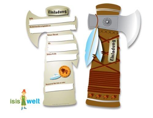 6 Einladungskarten Indianer Tomahawk