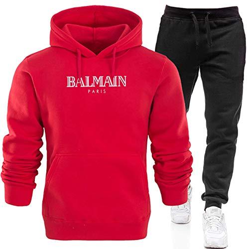 Conjunto completo de chándal para hombre, pantalones deportivos y sudadera con capucha, sudadera de manga larga + pantalones largos con (S-XXXL) rojo 1-L